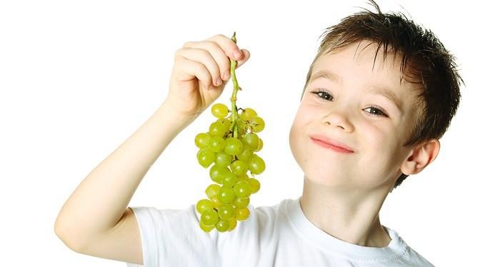 Ребенок держит гроздь винограда