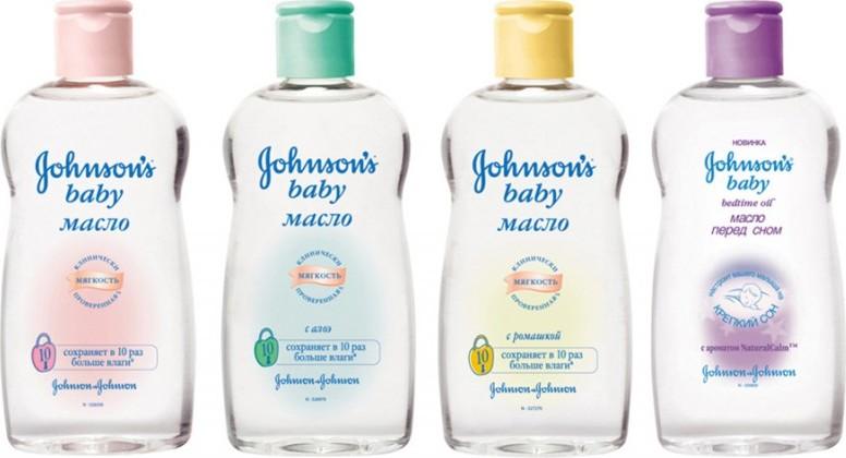 Масла Johnson's baby в прозрачных бутылках