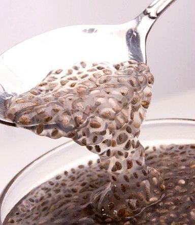разбухшие в воде семена чиа