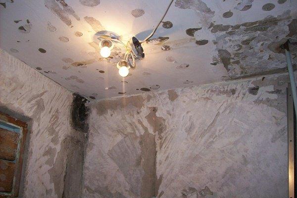 Возникновение очагов плесени на потолке